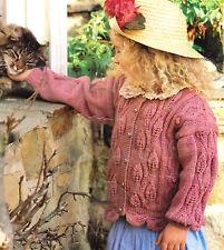 "Trailing Leaf Pattern Baby/Girl  Cardigan with Leafy Edge DK 22"" - 32"" To Knit"