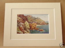 MOYE POINT LE GOUFFRE GUERNSEY RARE VINTAGE DOUBLE MOUNTED PRINT HENRY WIMBUSH