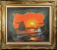 Outstanding Oil Painting Of Clipper Ship on The Sun Setting Sea seen from Cave!