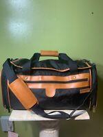 Hartmann Duffle Bag Black/Tan -Leather/Nylon Shoulder Strap Weekender