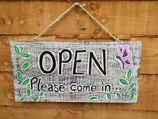 Hand Carved Made Wooden Open Closed Shop Cafe Shabby Wall Art Door Sign Plaque