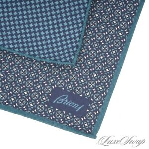 NWOT Brioni Made in Italy Reversible Teal Blue Houndstooth Silk Pocket Square #9