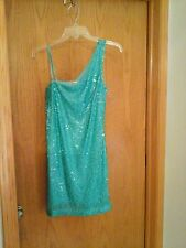 Accidentally in Love brand green 1 shoulder cocktail dress, S, polyester, lined