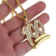 Men's Hip Hop Gold 100 Shaped Crystal Stainless Steel Pendant Iced Out Necklace