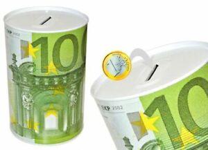 salvadanaio scatola in latta Ø 13,5 x 15 cm Euro 5 10 20 50 100 200 500 €