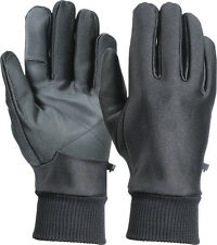 Black Soft Shell Stretchy Waterproof Gloves with Fleece Lining
