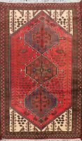 Vintage Geometric Tribal Hamedan Hand-knotted Area Rug Wool Oriental Carpet 3x5