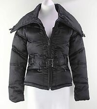 Chill Couture Sz S Black Animal Lining Nylon Poly 2Pc Belt Zip Puff Jacket F035