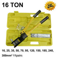"16 Ton 18.5"" Hydraulic Wire Terminal Crimper Crimping Tool Pliers Set w/ 11 Dies"
