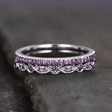 1.3ct Round Cut Purple Amethyst Bridal Set Engagement Ring 14k White Gold Finish