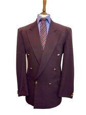 C&A VINTAGE 42 REG WOOL BLEND DOUBLE BREASTED BURGUNDY BLAZER ,BRASS BUTTONS.