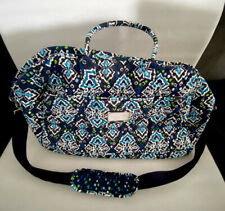 VERA BRADLEY GRAND TRAVELER WEEKENDER MIDNIGHT INK BLUE RETIRED EUC