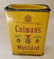 Vintage Colman's Mustard Tin 2 OZ. Small Yellow Tin Kitchen Decor