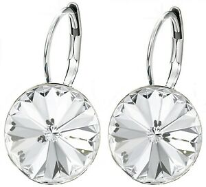 Women Round Large LEVER BACK Bella Earrings made with SWAROVSKI crystal