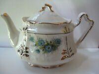 """Signed """"Arthur Wood England"""" Blue Floral Porcelain Teapot Gilded Embossed #'d"""