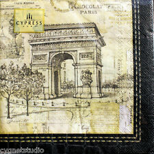 cYPRESS hOME Luncheon Decoupage Napkins Set of 20 - Paris Collage