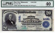 Pine City, Minnesota  First National Bank  $20 1902 PB  CH#11581  PMG 40