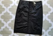 NWT Talbots Stretch Black Pencil Skirt Career Ruffles Buttons Size 8, M