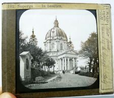 LANTERNA MAGICA FOTO ANTICA  BASILICA DI SUPERGA TORINO 1880