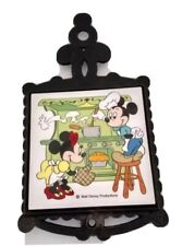Vtg Walt Disney Trivet Cast Iron Ceramic Mickey And Minnie Mouse Cooking Japan