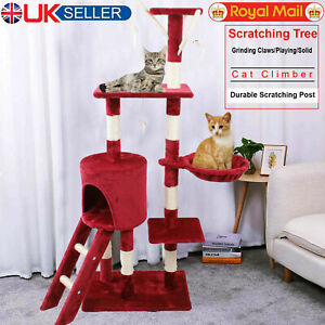 Cat Kitten Tree Climbing Scratching Post Activity Centre House 140cm Play Toy UK