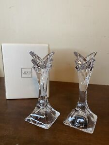 "New Pair CRYSTAL TAPER CANDLE STICK HOLDERS 5.5"" Mikasa Art Deco"