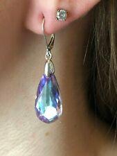 Swarovski Blue Teardrop & Silver earrings