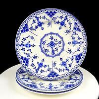 "RIDGWAY LAWLEY ENGLAND BLUE DANISH BLUE & WHITE 3PC 9 7/8"" DINNER PLATES 1955-62"