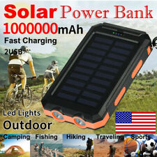 2021 Waterproof 1000000mAh USB Portable Charger Solar Power Bank For Cell Phone