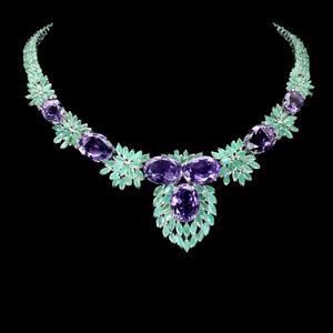 Unheated Oval 16x12mm Amethyst Emerald 925 Silver Necklace 17.5 Ins Spicial Item