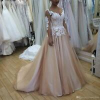 White/Ivory Champagne Plus Size Wedding Dresses A-line Lace Scoop Bridal Gowns