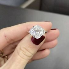 Certified 2.10CT Oval Cut White Diamond 14K White Gold Engagement 3-Stone Ring