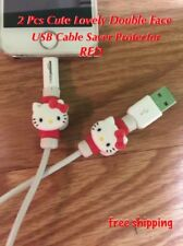 Hello Kitty Red 2pcs Cartoon Shape USB Data Charger Cable Saver Protector