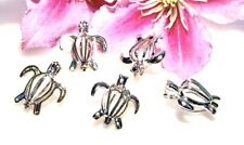 Beautiful Sea Turtle Opening Cage Locket Pendant Silver Crafting Supply Lot Of 5