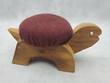 "Vintage Figural TURTLE Sewing Pin Cushion wood maroon 5.5"""