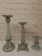 """3 Partylite Candle Holders Rustic Villa Pillars 20"""" 16"""" 7"""""""