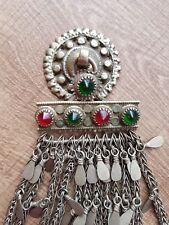 grand bijou ethnique ancien vintage Afghanistan métal argenté kuchi afghan