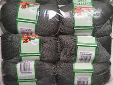 Knitting wool 6 x 100g acrylic yarn 8ply Grey 100% Brand New