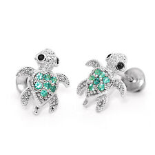 Sterling Silver Green Turtle Screwback Earrings