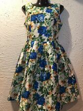 NEW WITH TAGS DESIGNER CHASING KATE BY ST FROCK BLUE GREEN FLORAL SKATER DRESS