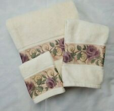 Croscill Chambord 3 Piece 1 Bath 1 Hand Towel 1 Washcloth Amethyst Purple Rose