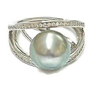 Stunning 11mm Round Peacock Silvery Gray Green Tahitian Sea Pearl Ring Size 7