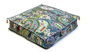 """Cotton Indian Kantha Pouf Seating Handmade Square 35x35x5"""" Inches Ottoman Cover"""
