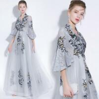 Luxury Formal Womens Embroidery Kimono Sleeves Party  Dress  Evening Ball Gown