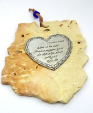 Pewter Heart on Stone Wall Plaque Congratulations Gift to Mother Home Decor Art