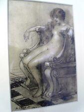 """CALBET Antoine (1860-1944) """"JF rousse au fauteuil"""" """"Nudité"""" 2 lithos sépia (B)"""