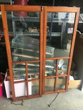 c1900 pine glass cabinet doors Se Boston origin 53� x 18� x 1.25� brass hardware