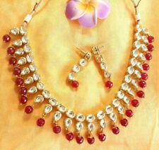 Indian Kundan Maroon Beads Bollywood Fashion Imitation Necklace and Earrings