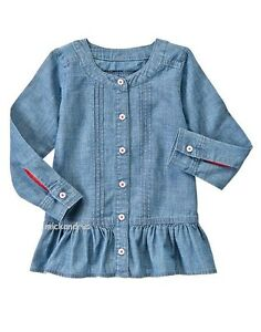 NWT Gymboree Girls 100% Cotton Chambray Tunic Long Sleeve Size  10