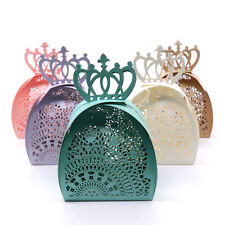 10pcs Luxury Boxes Wedding Party Favour Laser Cut Sweets Cake Candy Gift Box Bag